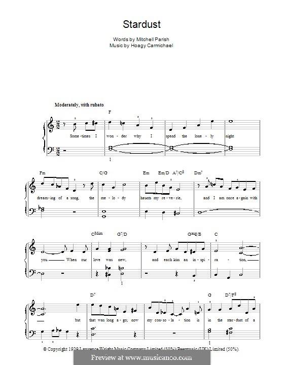 Stardust (Frank Sinatra): Для фортепиано (легкий уровень) by Hoagy Carmichael