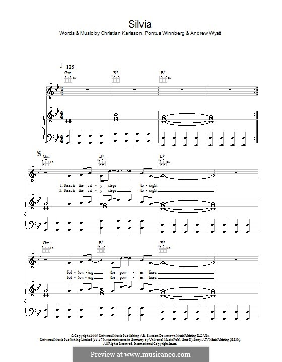 Silvia: Для голоса и фортепиано (или гитары) by Andrew Wyatt, Christian Karlsson, Pontus Winnberg