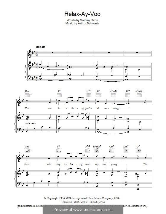 Relax-Ay-Voo (Dean Martin): Для голоса и фортепиано (или гитары) by Arthur Schwartz