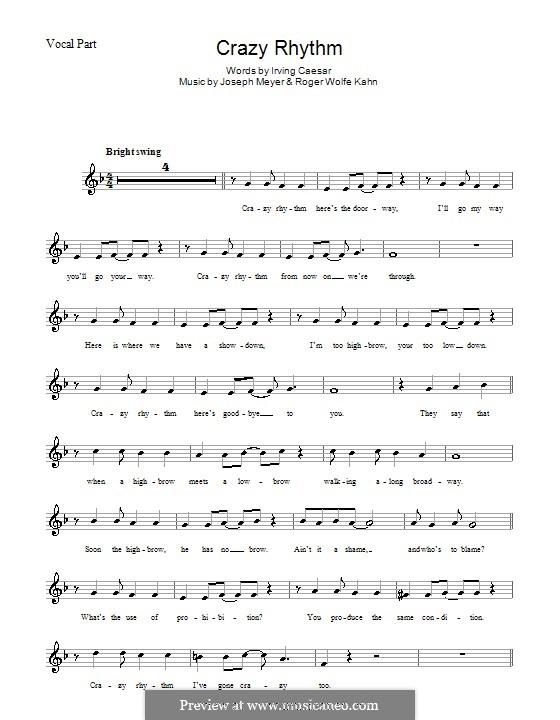 Crazy Rhythm (Chet Baker): Мелодия, текст и аккорды by Joseph Meyer, Roger Wolfe Kahn