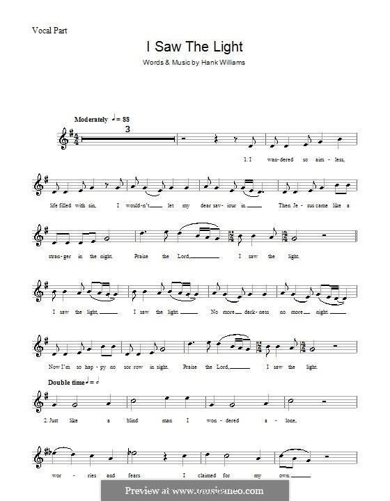 I Saw the Light: Мелодия, текст и аккорды by Hank Williams