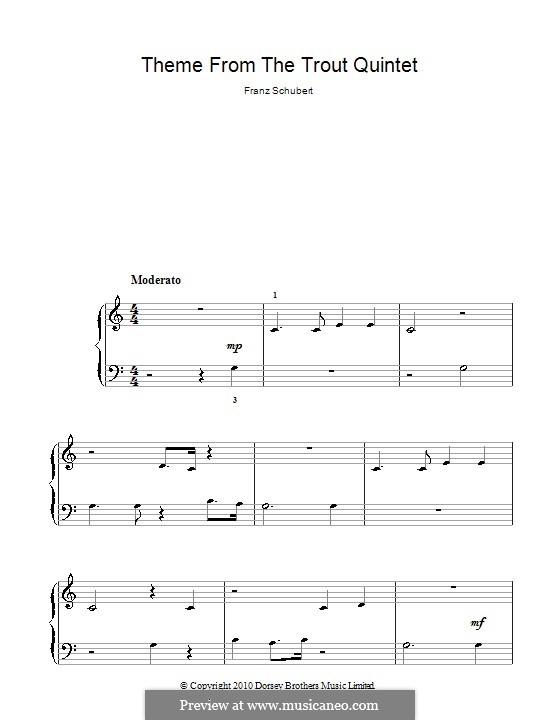 Квинтет для струнных и фортепиано 'Форель', D.667 Op.114: Часть IV (Тема). Версия для фортепиано (ноты высокого качества) by Франц Шуберт