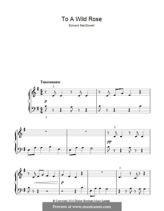 No.1 К дикой розе: Для фортепиано (легкий уровень, соль мажор) by Эдвард Макдоуэлл