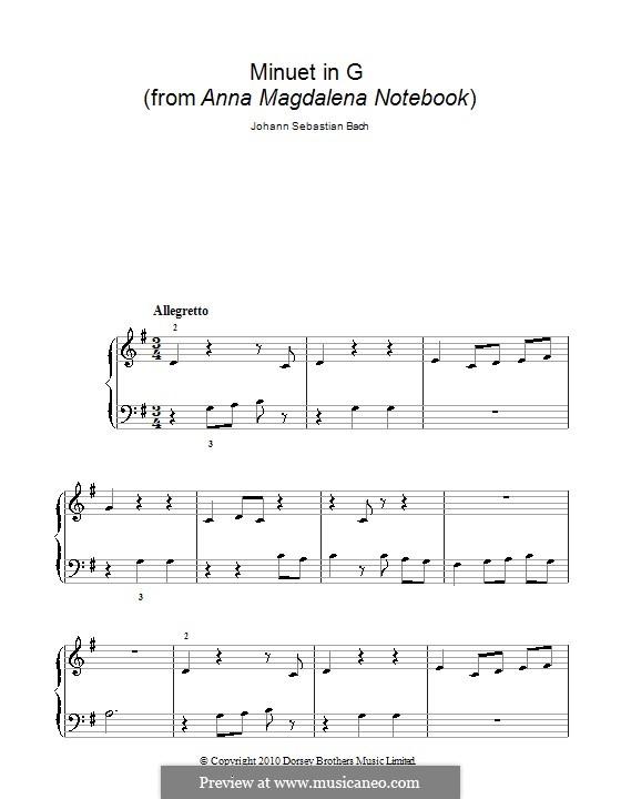No.4 Менуэт соль мажор, для фортепиано: Easy version by Иоганн Себастьян Бах