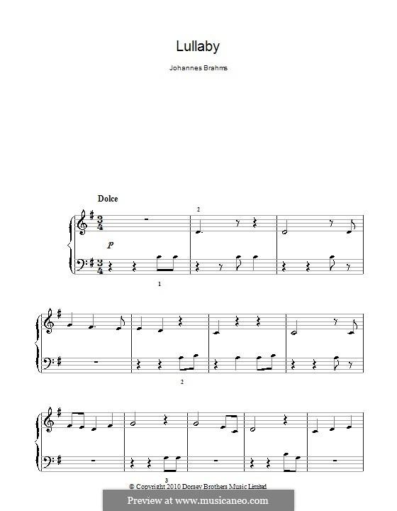 No.4 Колыбельная: Для фортепиано (легкий уровень) by Иоганнес Брамс
