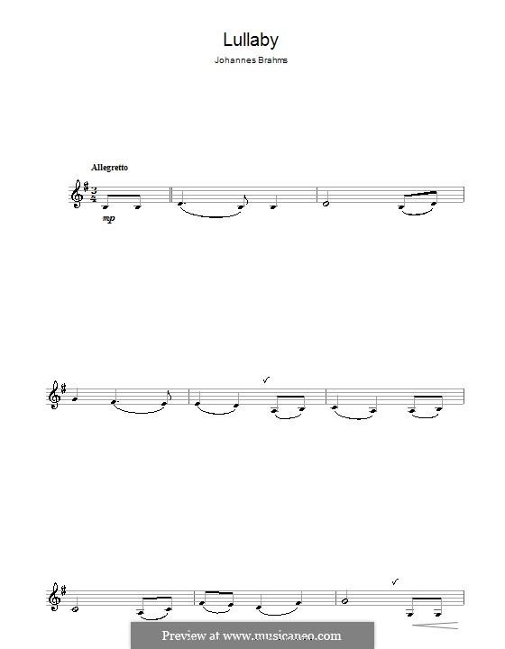 No.4 Колыбельная: Для кларнета by Иоганнес Брамс
