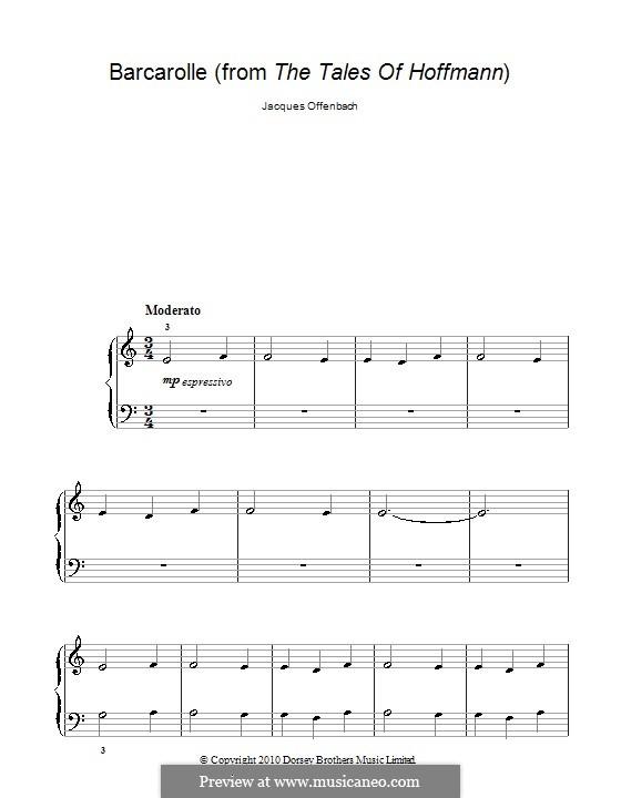 Баркарола: Для фортепиано (очень лёгкая версия) by Жак Оффенбах