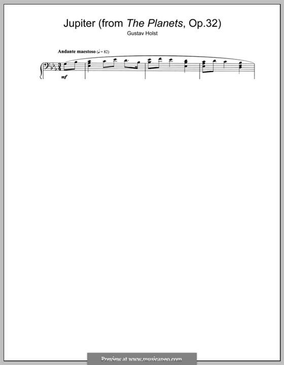 Юпитер: Версия для фортепиано by Густав Холст