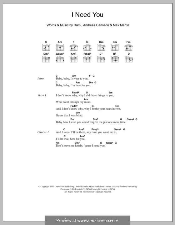 I Need You (Westlife): Текст, аккорды by Andreas Carlsson, Max Martin, Rami Yacoub