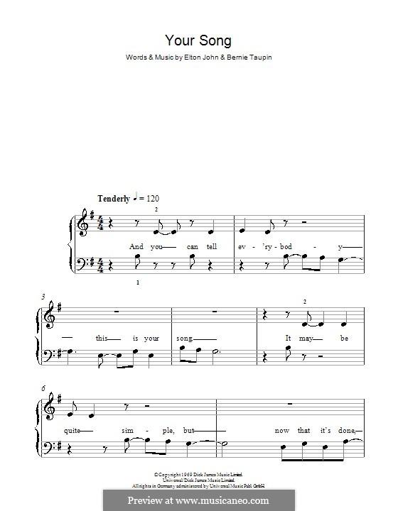 Your Song: Для фортепиано (легкий уровень, соль мажор) by Elton John