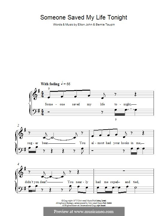 Someone Saved My Life Tonight: Для фортепиано (легкий уровень) by Elton John
