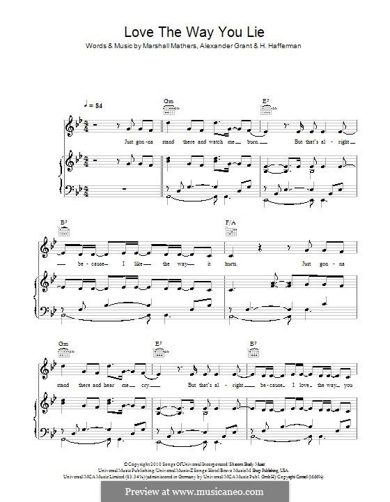 Love the Way You Lie (Eminem feat. Rihanna): Для голоса и фортепиано (или гитары) by Alexander Grant, Holly Brook Hafermann, Marshall Mathers