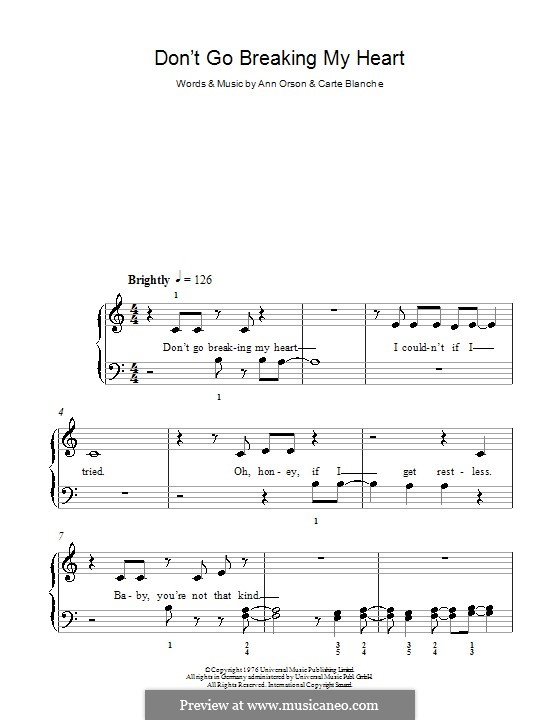 Don't Go Breaking My Heart (Elton John): Для фортепиано (легкий уровень) by Ann Orson, Carte Blanche