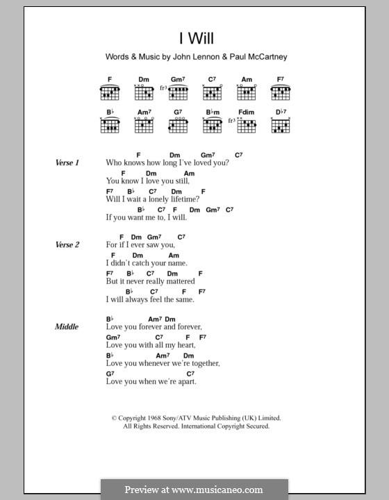 I Will (The Beatles): Текст, аккорды by John Lennon, Paul McCartney