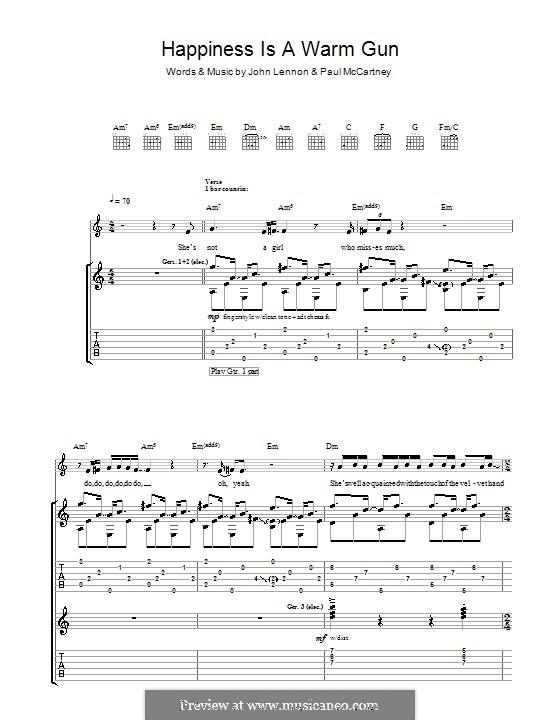 Happiness is a Warm Gun (The Beatles): Гитарная табулатура by John Lennon, Paul McCartney