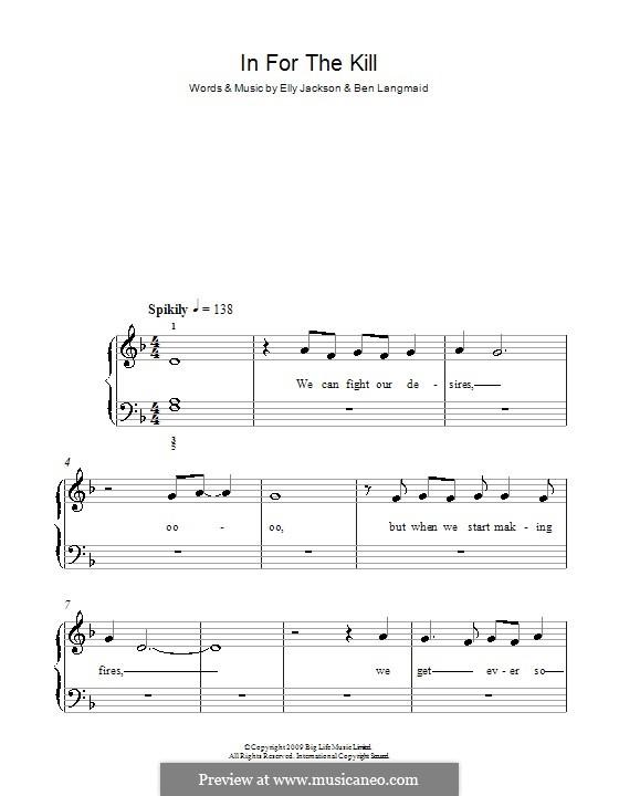 In for the Kill (La Roux): Для фортепиано (легкий уровень) by Ben Langmaid, Elly Jackson