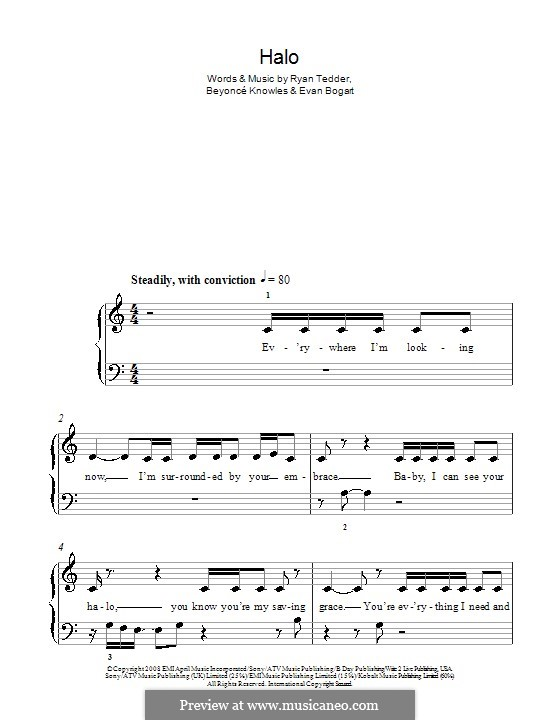 Halo: Для фортепиано (легкий уровень) by Beyoncé, Evan Kidd Bogart, Ryan B Tedder
