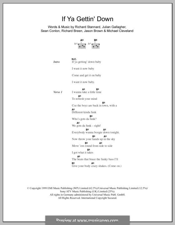If Ya Gettin' Down (Five): Текст, аккорды by Jason Brown, Julian Gallagher, Michael Cleveland, Richard Breen, Richard Stannard, Sean Conlon
