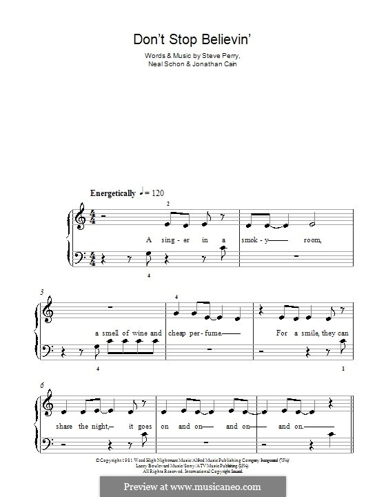 Don't Stop Believin': Для фортепиано (легкий уровень) by Jonathan Cain, Neal Schon, Steve Perry