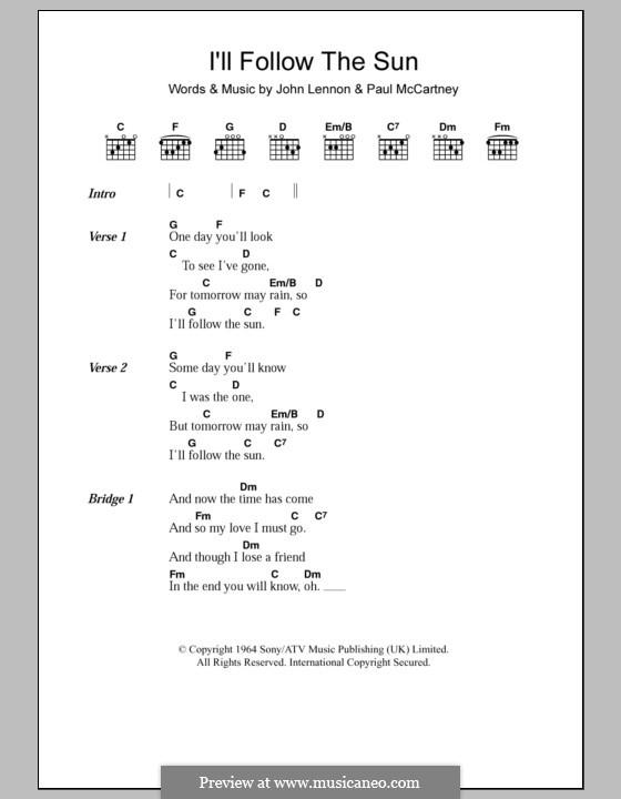 I'll Follow the Sun (The Beatles): Текст, аккорды by John Lennon, Paul McCartney