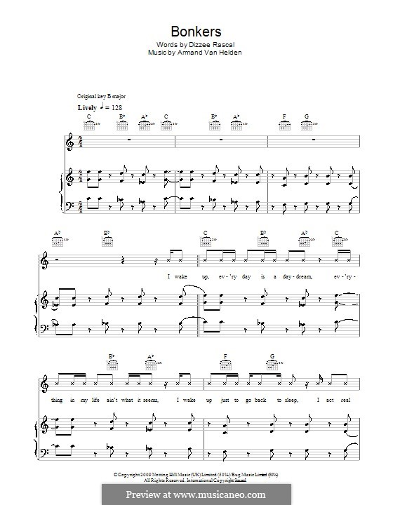 Bonkers (Dizzee Rascal feat. Calvin Harris & Chrome): Для голоса и фортепиано (или гитары) by Armand Van Helden