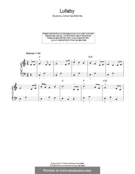 No.4 Колыбельная: Для начинающего пианиста by Иоганнес Брамс