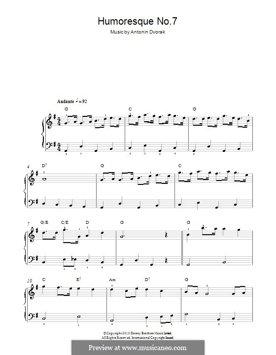 Юморески, B.187 Op.101: No.7 in G Major, for easy piano by Антонин Дворжак
