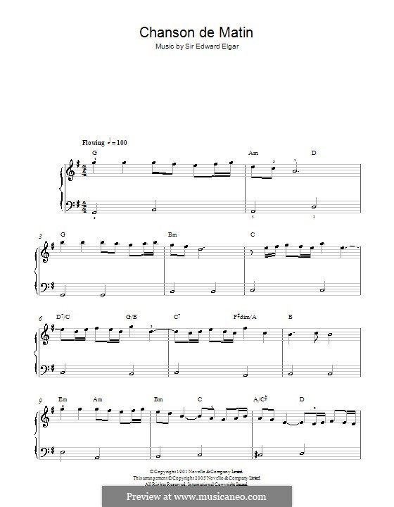 Две пьесы, Op.15: No.2 Chanson de matin. Version for easy piano by Эдуард Элгар