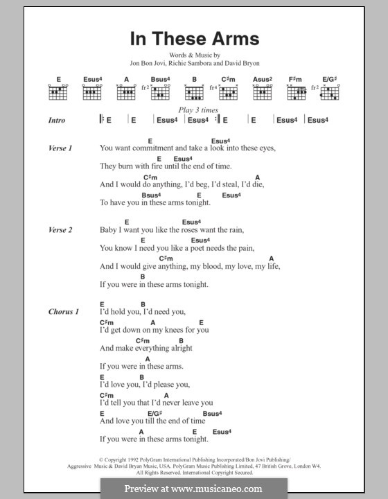 In These Arms (Bon Jovi): Текст, аккорды by David Bryan, Jon Bon Jovi, Richie Sambora