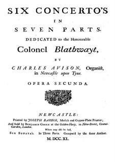 Шесть концетров, Op.2: Violino I concertino part by Чарльз Ависон