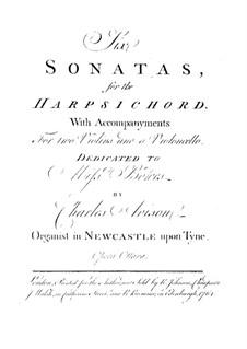 Шесть сонат для клавесина, двух скрипок и виолончели, Op.8: Партии клавесина и первой скрипки by Чарльз Ависон