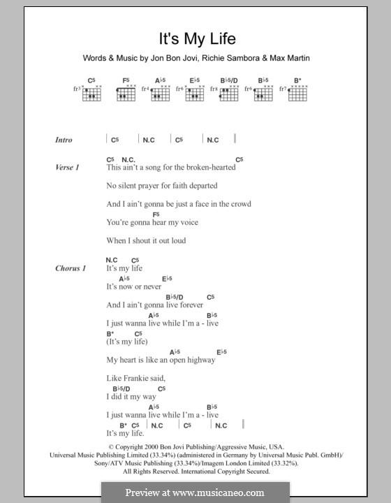 It's My Life (Bon Jovi): Текст, аккорды by Jon Bon Jovi, Max Martin, Richie Sambora