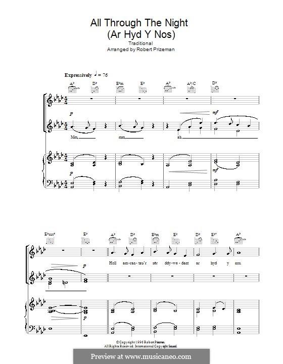All Through the Night: Для голоса и фортепиано или гитары (Ля-бемоль мажор) by folklore