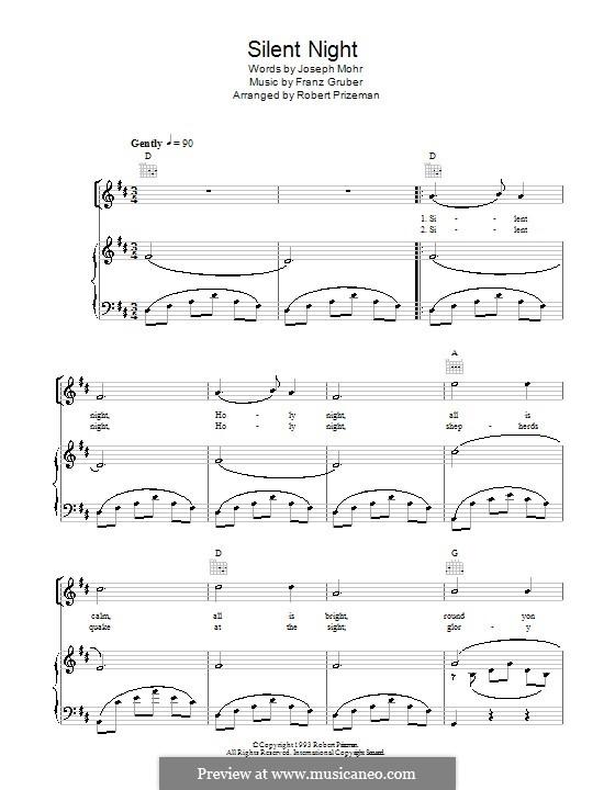 Тихая ночь (ноты для печати): Для голоса и фортепиано или гитары (ре мажор) by Франц Ксавьер Грубер