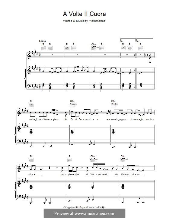 A Volte Il Cuore: Для голоса и фортепиано (или гитары) by Piero Marras