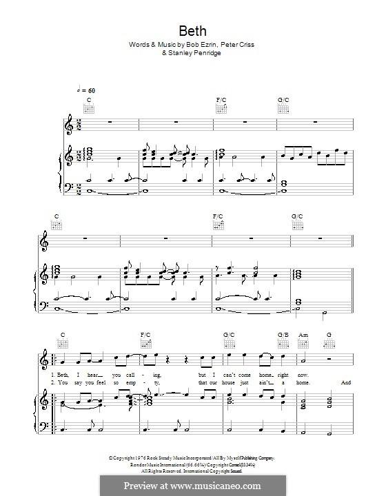 Beth: Для голоса и фортепиано или гитары (Glee Cast) by Bob Ezrin, Peter Criss, Stan Penridge