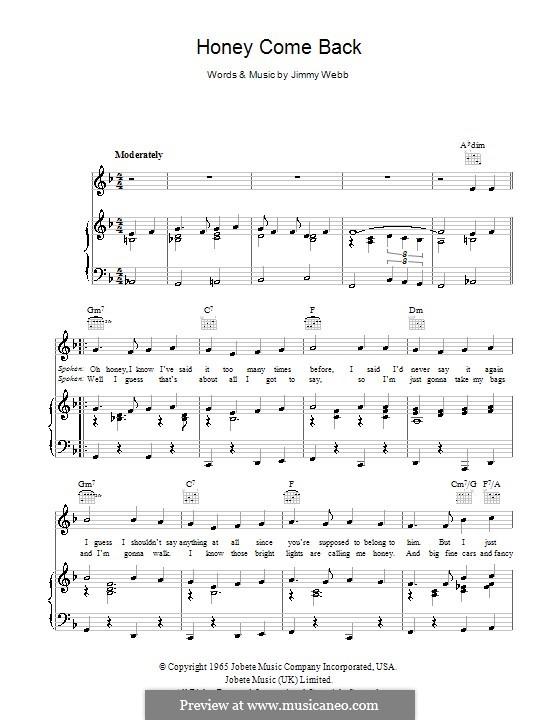 Honey Come Back (Glen Campbell): Для голоса и фортепиано (или гитары) by Jimmy Webb