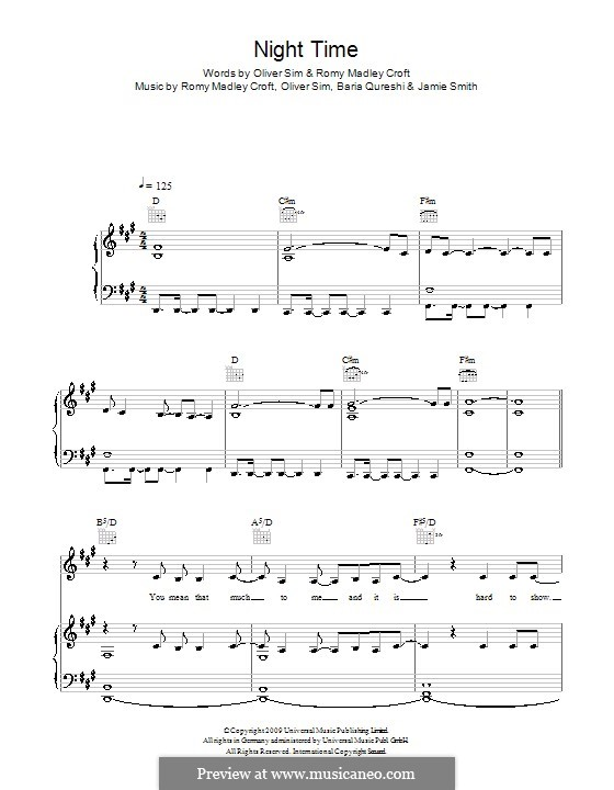 Night Time (The XX): Для голоса и фортепиано (или гитары) by Baria Qureshi, Jamie Smith, Oliver Sim, Romy Madley Croft