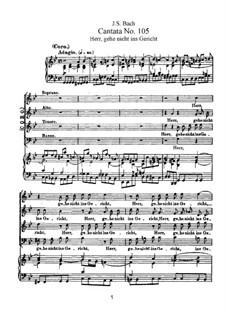 Herr, gehe nicht ins Gericht mit deinem Knecht, BWV 105: Клавир с вокальной партией by Иоганн Себастьян Бах