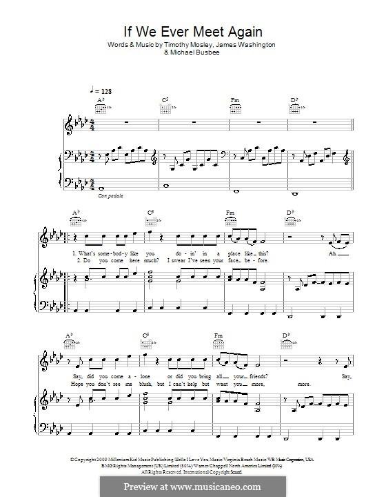 If We Ever Meet Again (Timbaland feat. Katy Perry): Для голоса и фортепиано (или гитары) by Busbee, James Washington, Timbaland