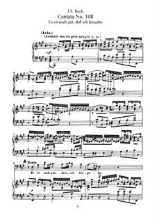 Es ist euch gut, dass ich hingehe (It Is Expedient for You That I Go Away), BWV 108: Аранжировка для голосов и фортепиано by Иоганн Себастьян Бах