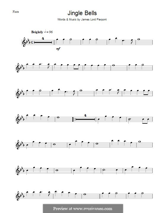 Jingle Bells (Printable scores): Для флейты by James Lord Pierpont