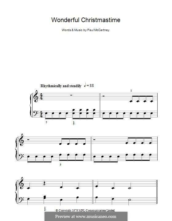 Wonderful Christmastime: Для фортепиано (легкий уровень) by Paul McCartney