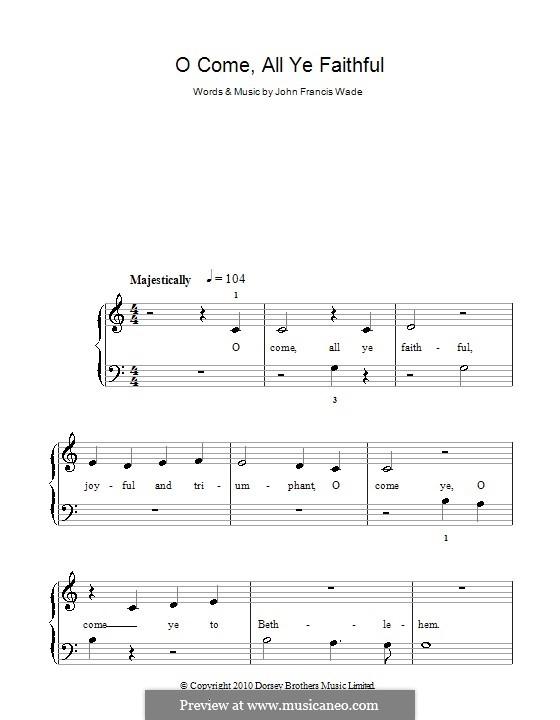 Придите к Младенцу, для фортепиано: Версия для начинающего пианиста (до мажор) by Джон Фрэнсис Уэйд