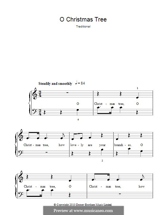 O Christmas Tree, for Piano: Version for easy piano by folklore