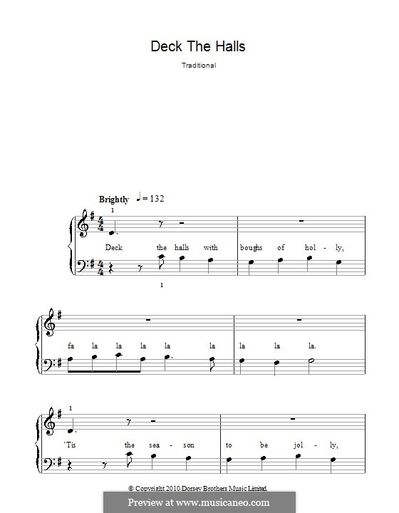 Deck the Hall, for Piano: Easy version (G Major) by folklore
