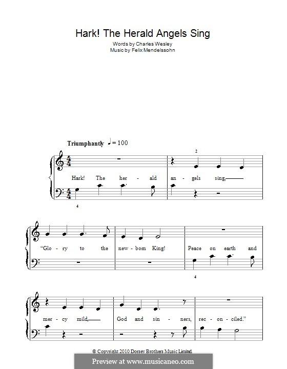 Hark! The Herald Angels Sing, for Piano: Легкая версия для фортепиано (C Major) by Феликс Мендельсон-Бартольди