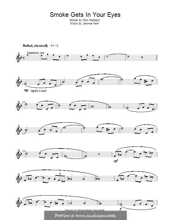 Smoke Gets in Your Eyes (from 'Roberta'): Для флейты by Джером Керн