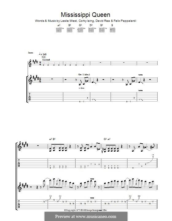 Mississippi Queen (Mountain): Гитарная табулатура by Corky Laing, David Rea, Felix Pappalardi, Leslie West