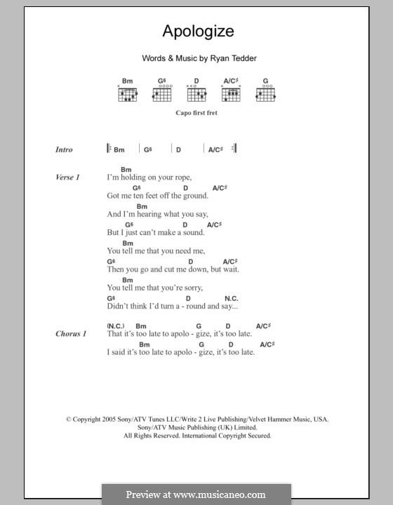 Apologize (OneRepublic): Текст, аккорды by Ryan B Tedder